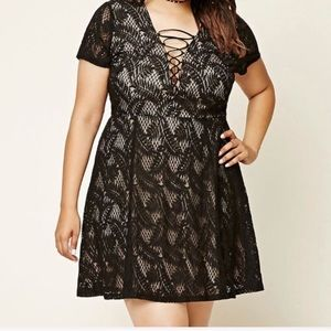 Forever 21 lace-up baby doll dress, black lace